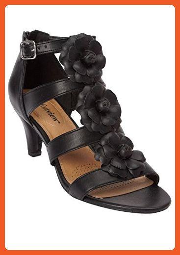 les femmes et comfortview taille demetra cuir sandale comme sandale cuir noir, m 2e3b31