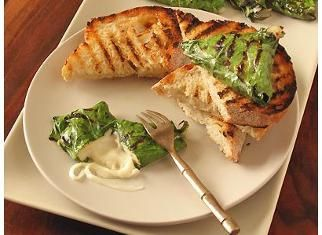 Chard-Wrapped Grilled Mozzarella on Grilled Bread