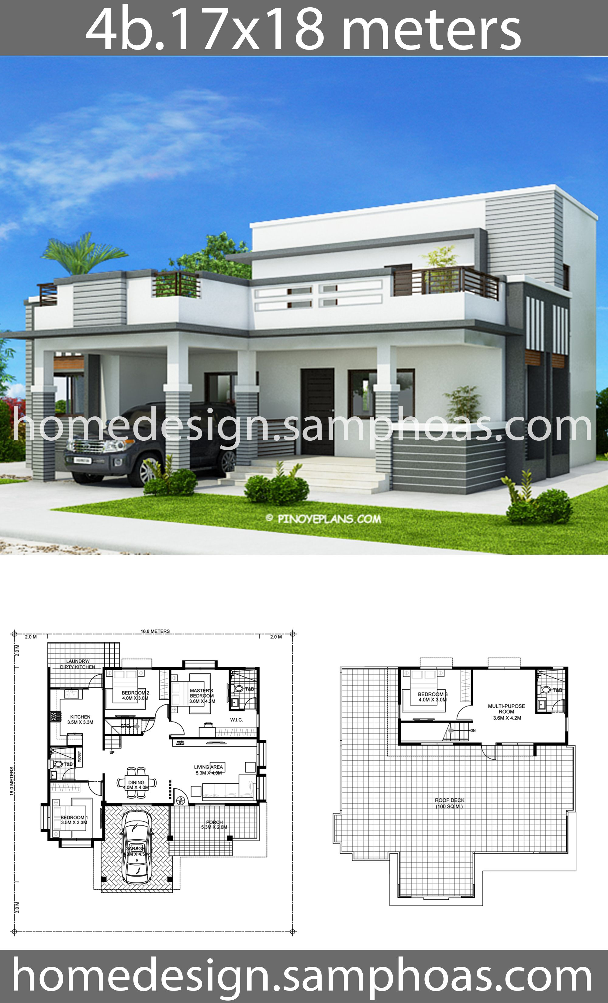 House Plans 17x18m With 4 Bedroom House Front Design House Outside Design Beautiful House Plans