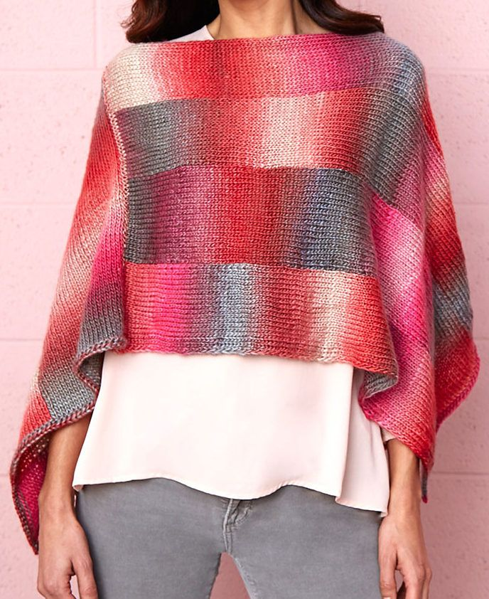 Free Knitting Pattern for Bargello Poncho -Easy poncho designed for ...