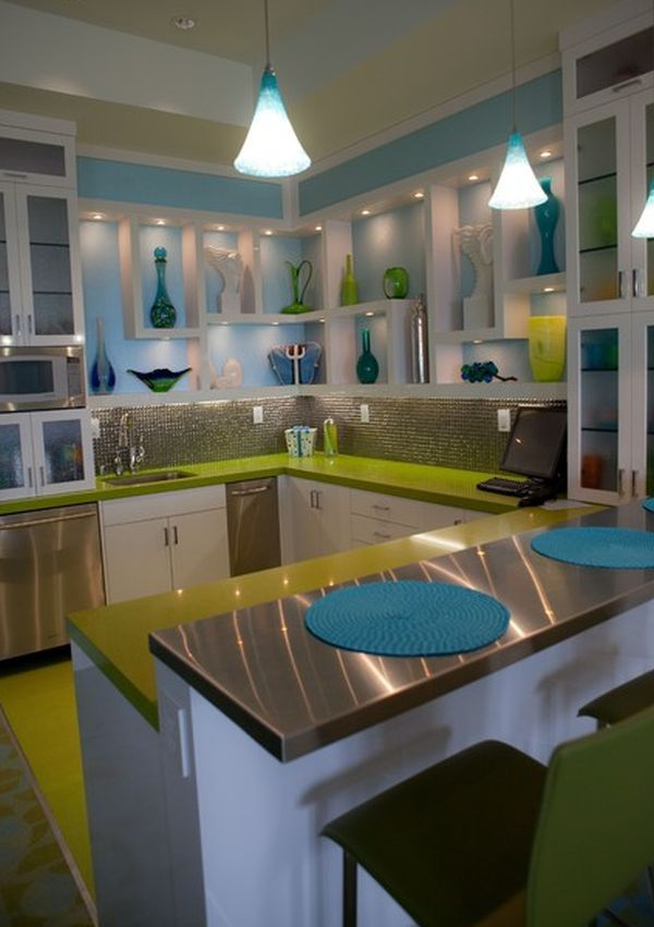 Green And Blue Colour Combination Home Remodeling Low Cost Kitchen Cabinets Teal Kitchen