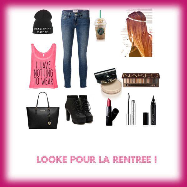 Looké pour la rentrée ? by oceane0103 on Polyvore featuring polyvore, mode, style, Frame Denim, MICHAEL Michael Kors, Urban Decay, CARGO and Clinique