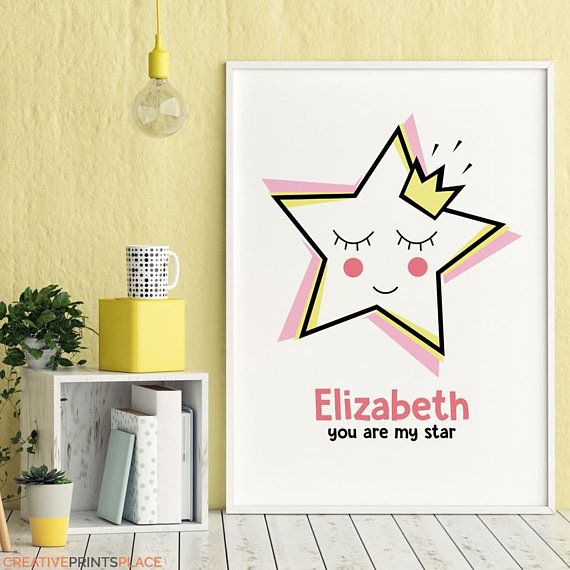 Personalized Star Print, Custom Order Name Print, Customized Wall ...