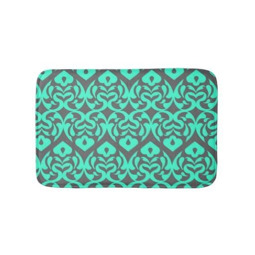 Teal Hearts Pattern Bathroom Bath Mat Anti-Skid  Bright teal blue hearts - intricate and elegant - against a soft gray background. This fun bath mat is sweet and stylish as well as functional and anti-skid for your safety. It's the perfect touch for your bathroom, outside your shower or bathtub.
