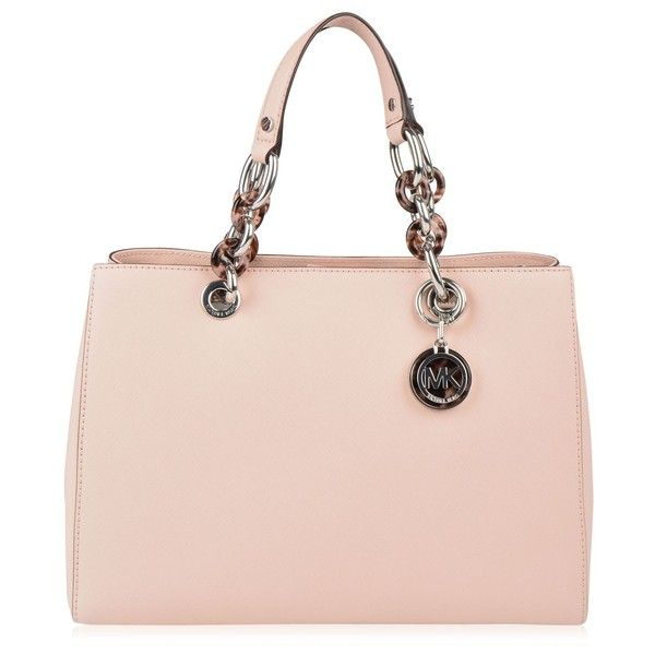 MICHAEL Michael Kors Cynthia Satchel Bag (625 AUD) ❤ liked on Polyvore featuring bags, handbags, genuine leather purse, leather purse, pink leather purse, chain purse and pink purse