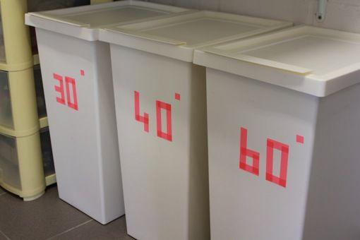 use washi tape on ikea 39 s filur bins to make cheap laundry baskets o r g a n i z i n g. Black Bedroom Furniture Sets. Home Design Ideas