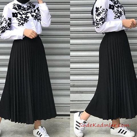 2020 Hijab Skirt Shirt Combinations Black Long Pleated Skirt White Embroidery Embroidered Shirt -  Hijab Skirt Shirt Combinations Black Long Pleated Skirt White Embroidery Embroidered Shirt #hijab t - #Black #Combinations #Embroidered #Embroidery #Hijab #Long #Pleated #Shirt #Skirt #VestidosDeModa #white