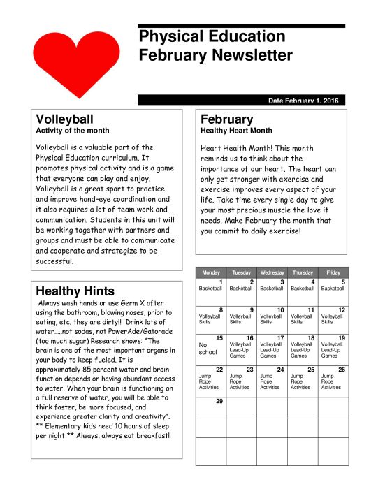Image result for pe newsletter for elementary PE Newsletters
