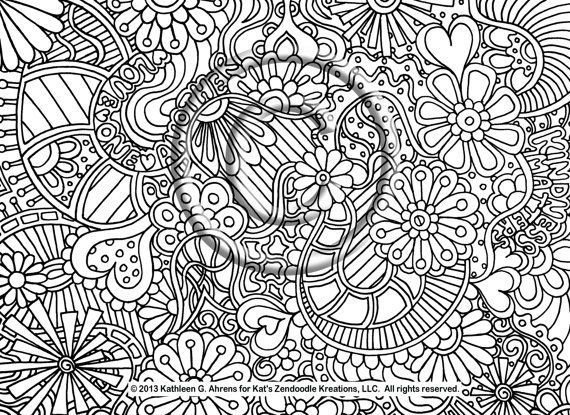 shelly beauchamp zen tangles coloring pages | Instant PDF Download Coloring Page Hand Drawn Zentangle ...