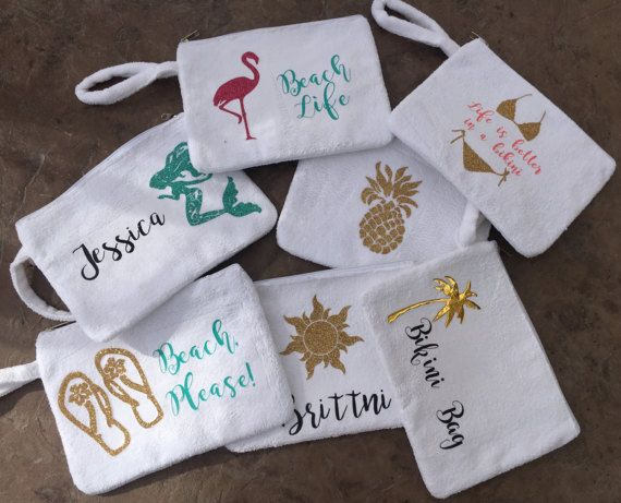 Beach Wedding Bridesmaid Gifts: Personalized Bikini Bag, Wet Bikini Bag, Beach Bag, Bikini