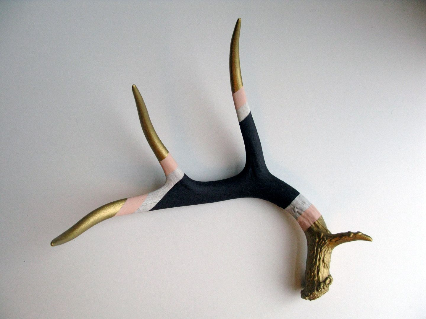 Gold, Peach and Purple Striped Deer Antler