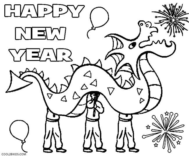 New Years Coloring Pages New Year Coloring Pages Dragon