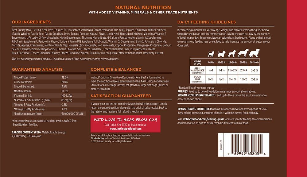Instinct Original Grain Free Recipe With Real Beef Natural Dry Dog Food By Natures Variety 11 Lb Bag Chec Dog Food Recipes Dry Dog Food Grain Free Recipes