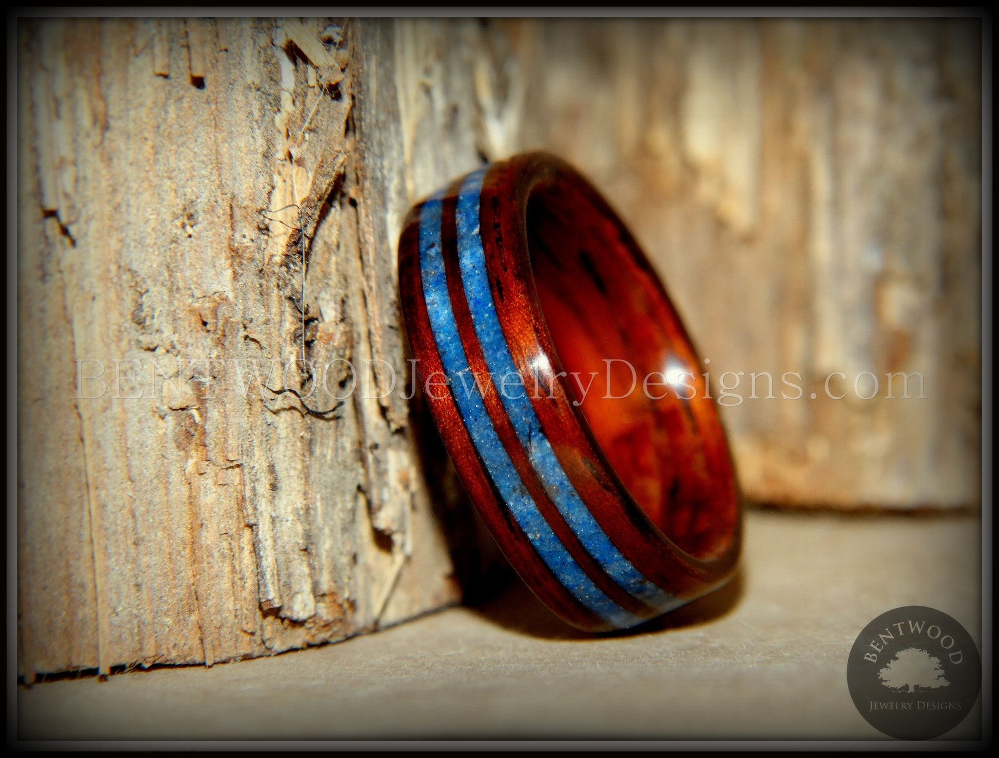 Bentwood Ring Kingwood Wooden Ring with Double Blue Lapis Inlay