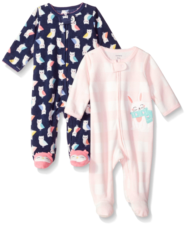 f5520fb2b6fc Carters Baby Girls 2Pack Microfleece Sleep and Play Navy Owl Bunny 9 ...
