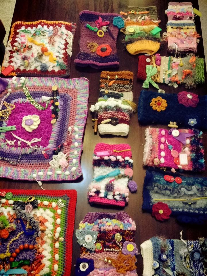 The Twiddle Muffs And Mats That Sophia Olds Anne Webb And I Made For Local Hospitals And Nursing Homes For Their Fidget Quilt Crochet Projects Dementia Crafts