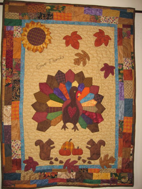 Folk Art Thanksgiving Turkey Quilt Textile Art Wall Hanging In Shades Of Autumn Quilts Fall Quilts Quilting Crafts