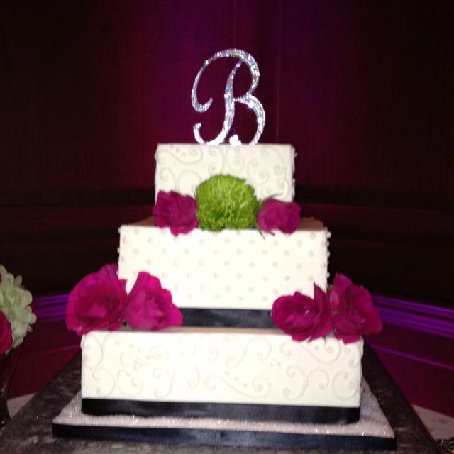 Pink, Green, Black, & Bling! Gorg Wedding Cake!