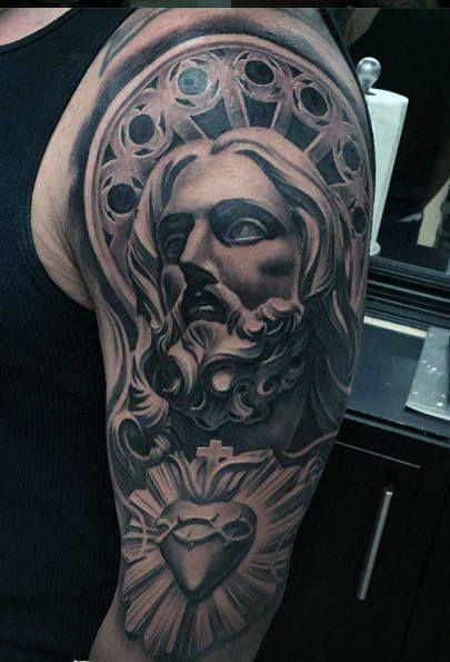 f01415d67645d 50 Jesus Sleeve Tattoo Designs For Men - Religious Ink Ideas   Tats ...