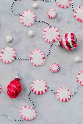 This DIY garland is made from *actual* peppermint candies! nutcrackerchristmas #diychristmasornaments #christmasdecorations #holidaydecorating #thenightbeforechristmas #christmastime #christmascards #peppermintcandy #ornamenttutorial