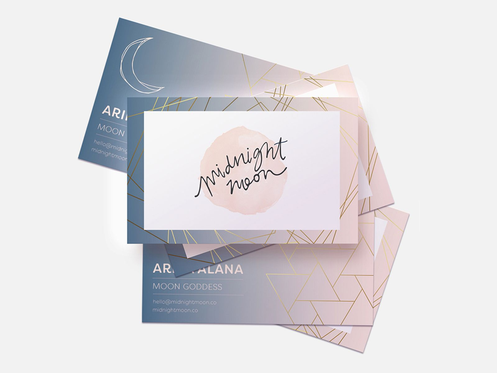Midnight Moon Biz Card Business Card Design Branding Design Typography Design