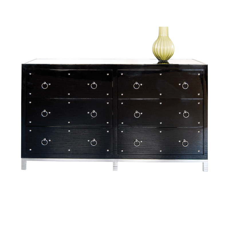 Worlds Away Studly Black Lacquer Nickel Studded Dresser With Inset Beveled Mirrored  Top