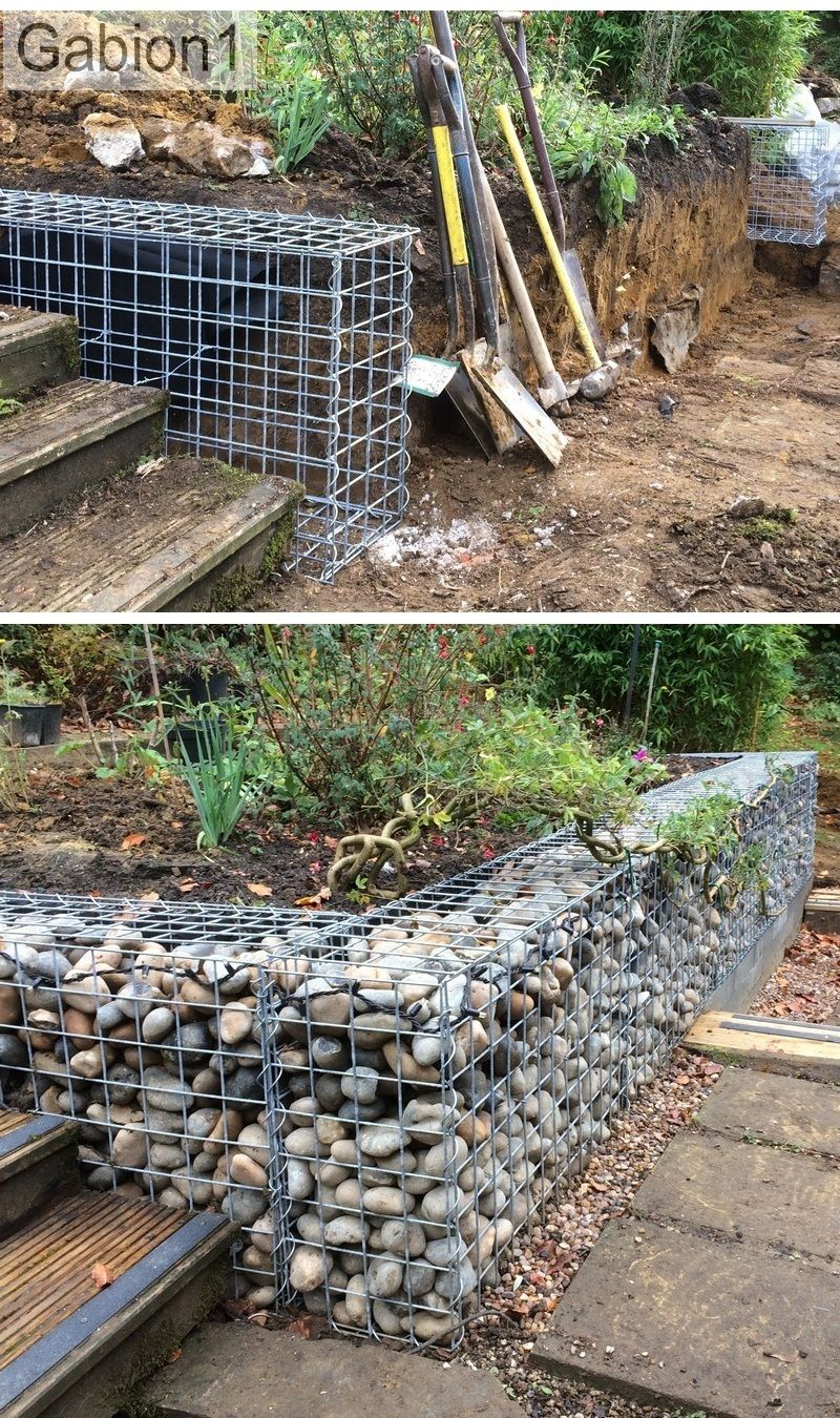 small gabion retaining wall construction no concrete foundation required httpwwwgabion1couk
