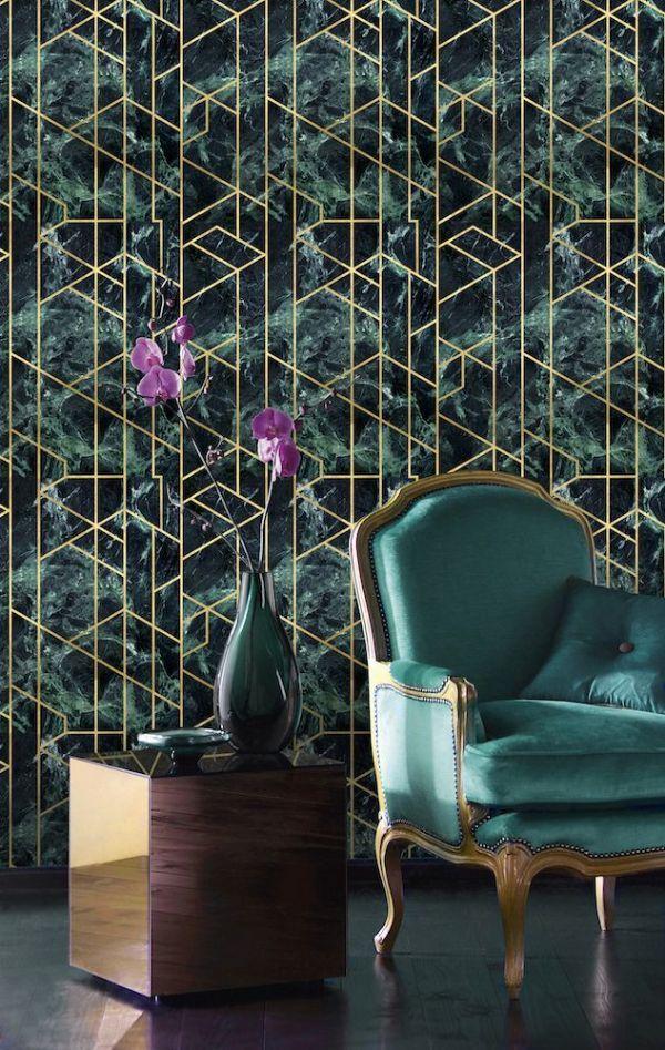 Mind The Gap Gramercy Emerald Wallpaper Metallic