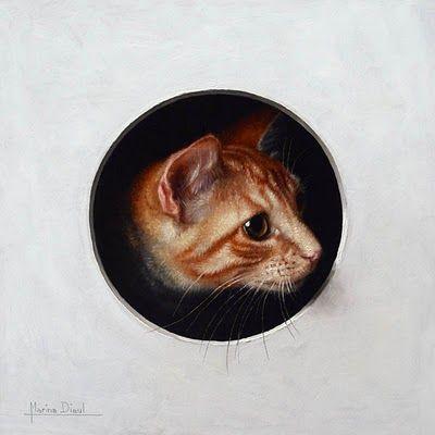 "Marina Dieul, Cat, oil, 8x8""  www.marinadieul.blogspot.com"