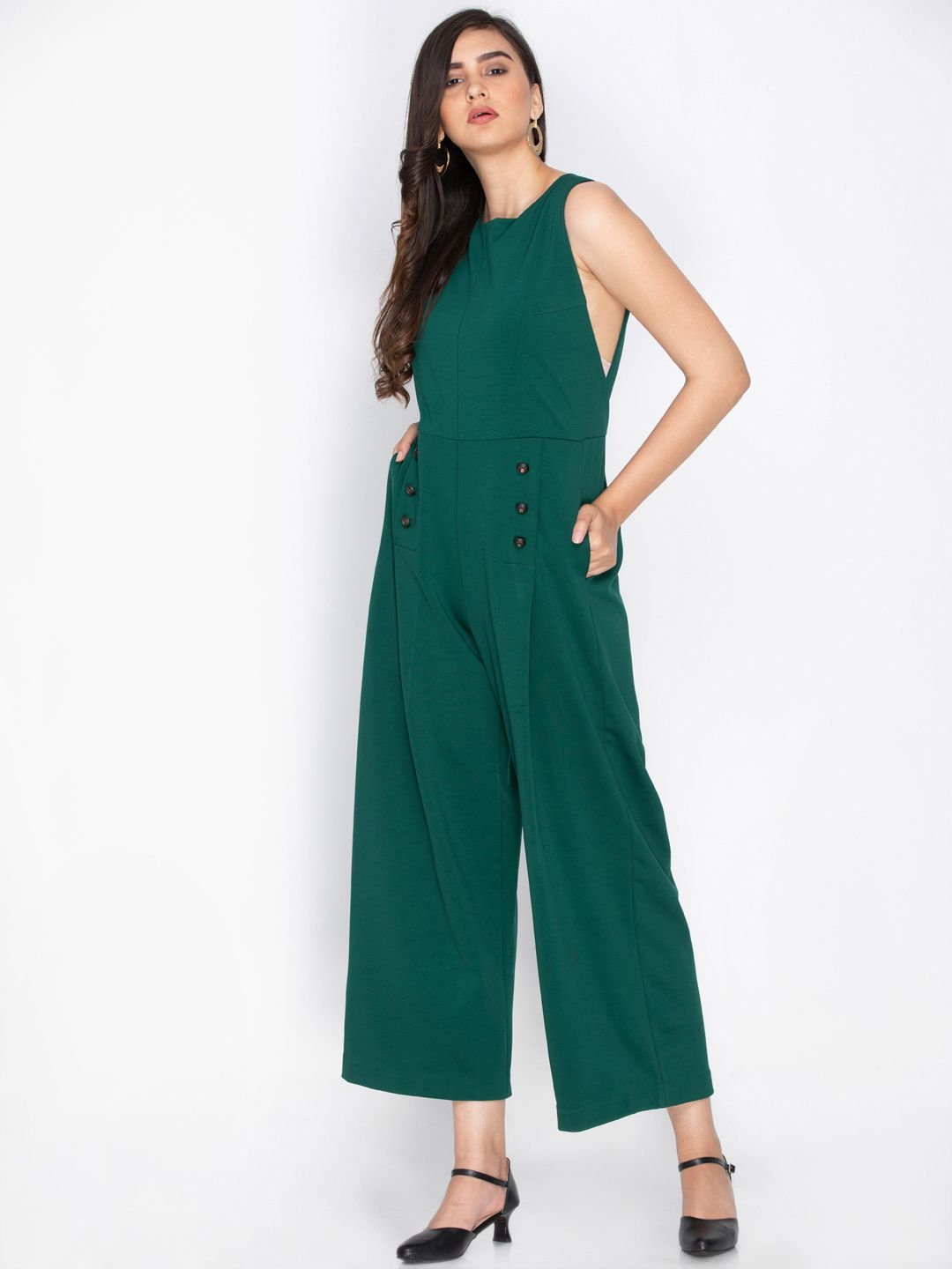 534003800a18 Lush Dreams teal sleeveless jumpsuit with invisible pockets and button  embellishments. The lush of green is such a soothing colour and our crayon  palette ...