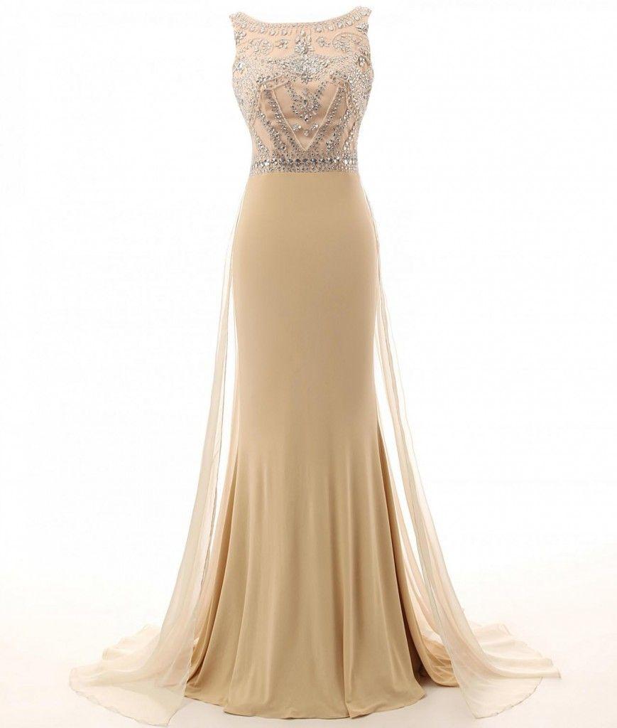 champagne-bateau-neckline-mermaid-tulle-prom-dress | Hair & Fashion ...