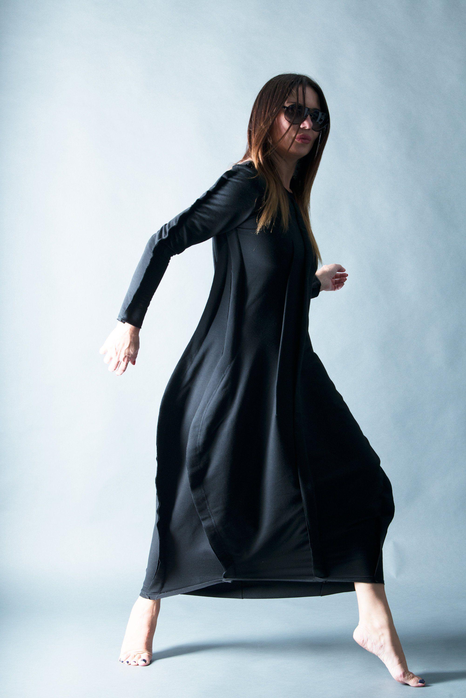 Trendy woman clothing plus size dress black cotton winter maxi