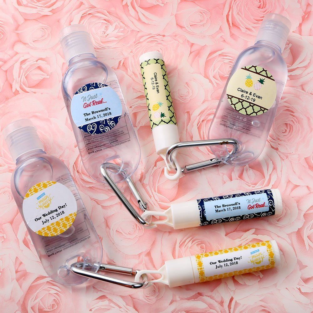 Personalized Wedding Set Of Lip Balm And Hand Sanitizer Hand