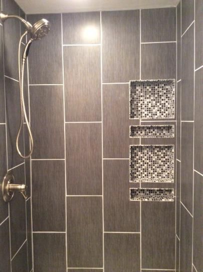 Shower Tile Ideas i like this shower! gray tile, tiny subway tiles, built-in shelves
