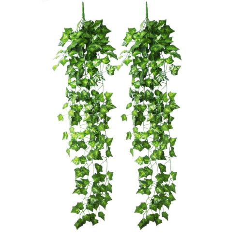 Artificial Ivy Hanging Vine Plant Leaves Garland For Garden Wall Decoration 2pcs Garden Wall Decor Hanging Vines Garden Wall