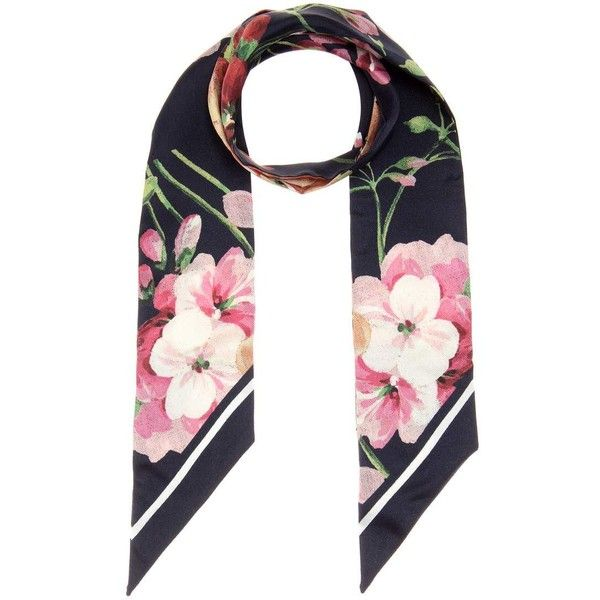 e4ef47c69 Gucci Floral-Printed Silk Neck Tie ($185) ❤ liked on Polyvore featuring  accessories, scarves, multicoloured, multi colored scarves, colorful scarves,  ...