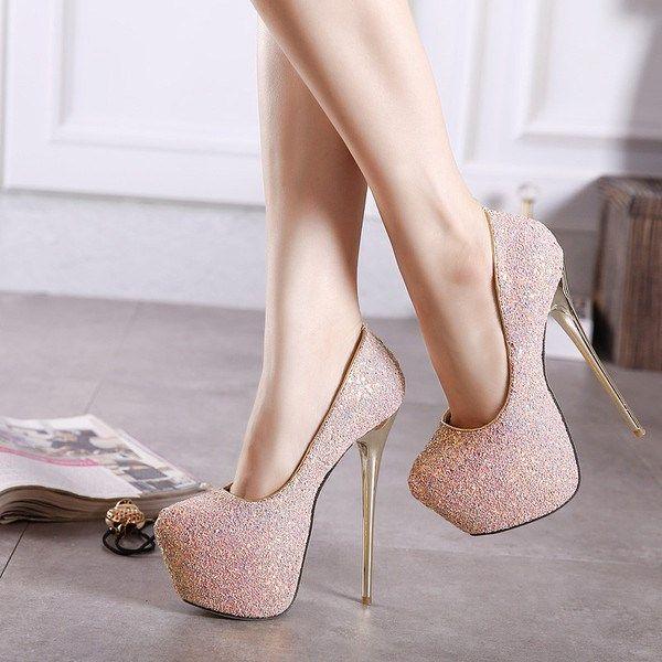 Women's Pink Almond Toe Stiletto Heels Platform Pumps Wedding Shoes