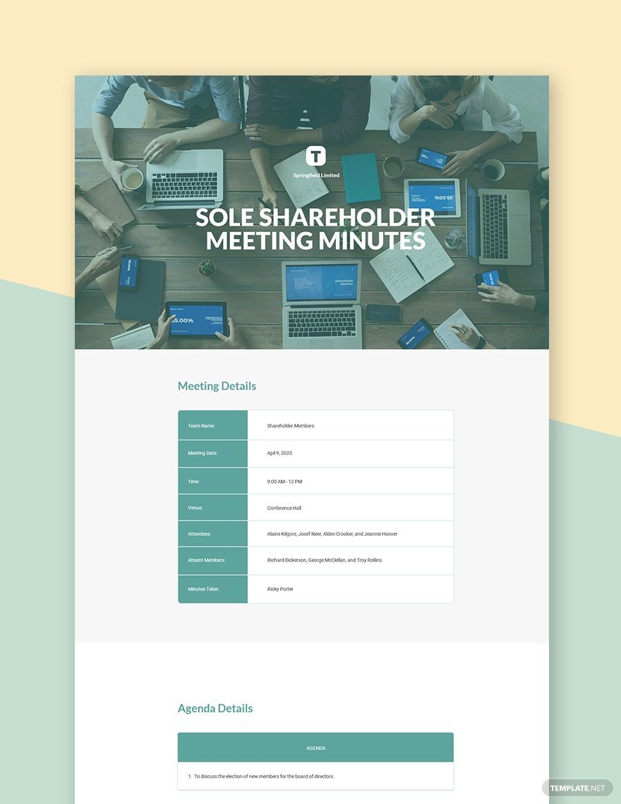 Sole Shareholder Meeting Minutes Template Free Pdf Google Docs Word Apple Pages Template Net Templates Document Templates Docs Templates