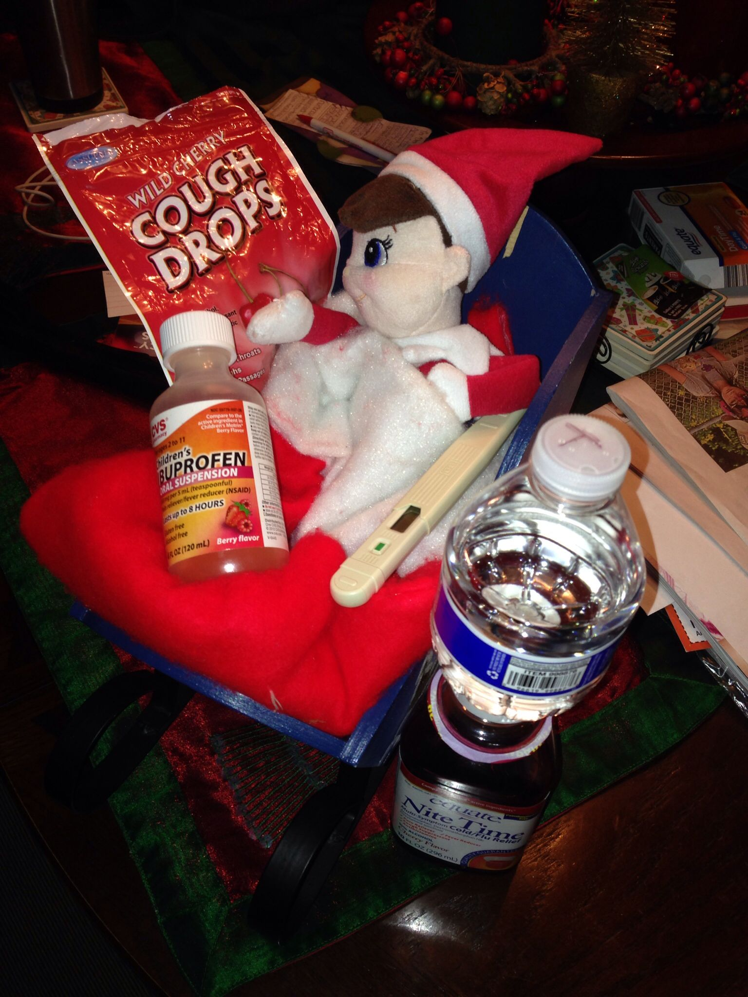 Poor Topper He Caught Dylan S Sickness Topper The Elf Cough Drops