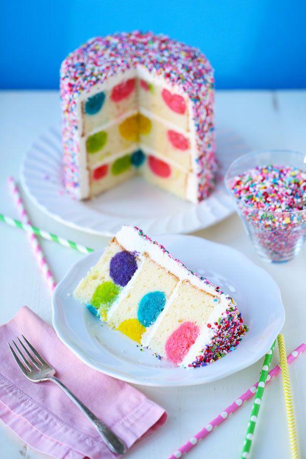 Rainbow Sprinkles Polka Dot Surprise Cake | Recipe ...