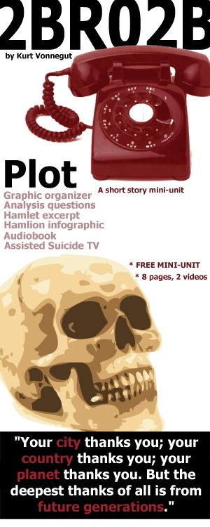 """2BR02B Plot Mini-Unit (by Kurt Vonnegut) (pronounced """"to be or naught to be""""), 7-12th grades, COMMON CORE, full story text, public domain audiobook, """"To Be or Not to Be"""" soliloquy excerpt from Hamlet, plot chart arc organizer, plot analysis questions. While reading the short story 2BR02B, this graphic organizer will help students analyze the 6 parts of the plot: Exposition, Conflict, Rising Action, Climax, Falling Action, Resolution"""