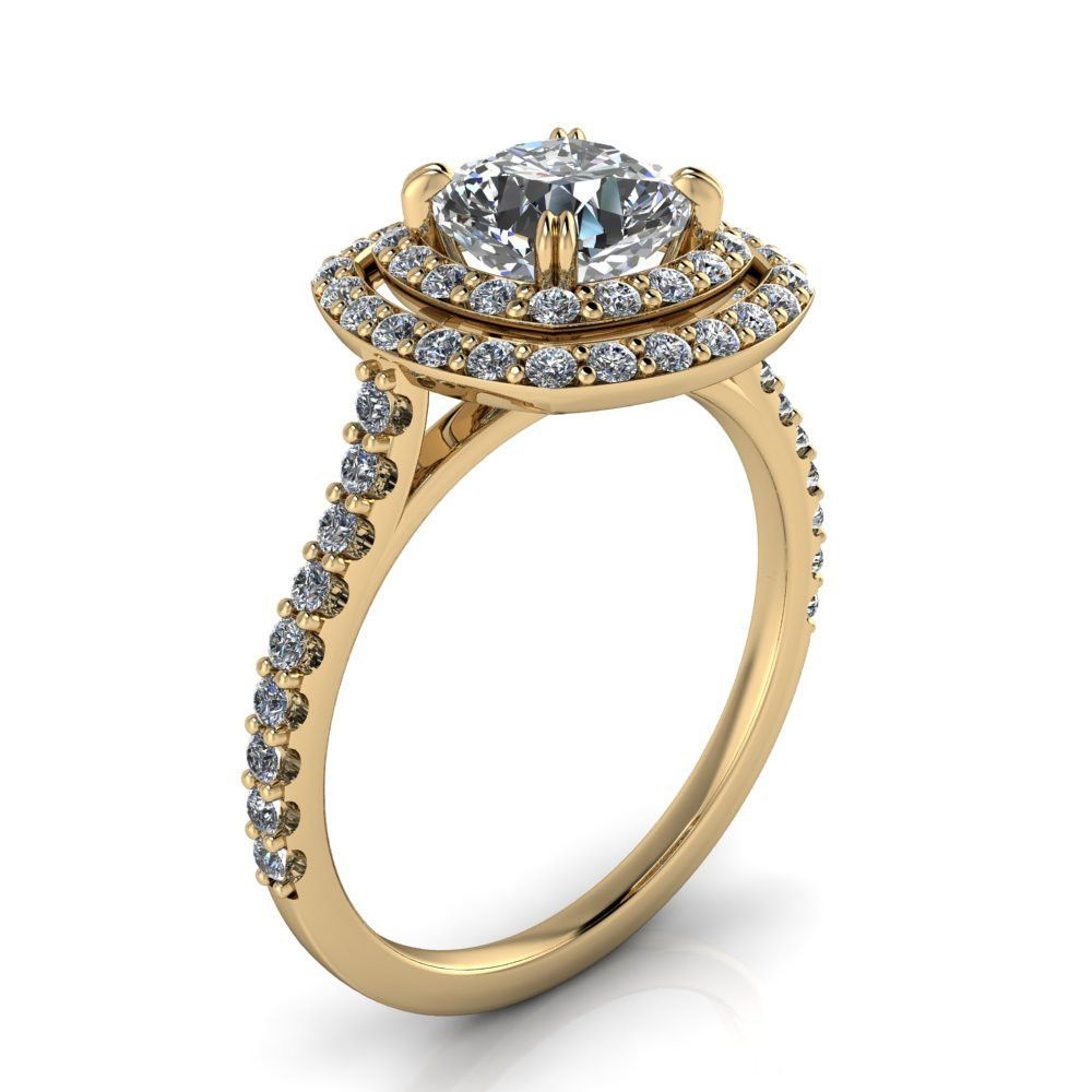 Double halo forever one moissanite and diamond engagement ring