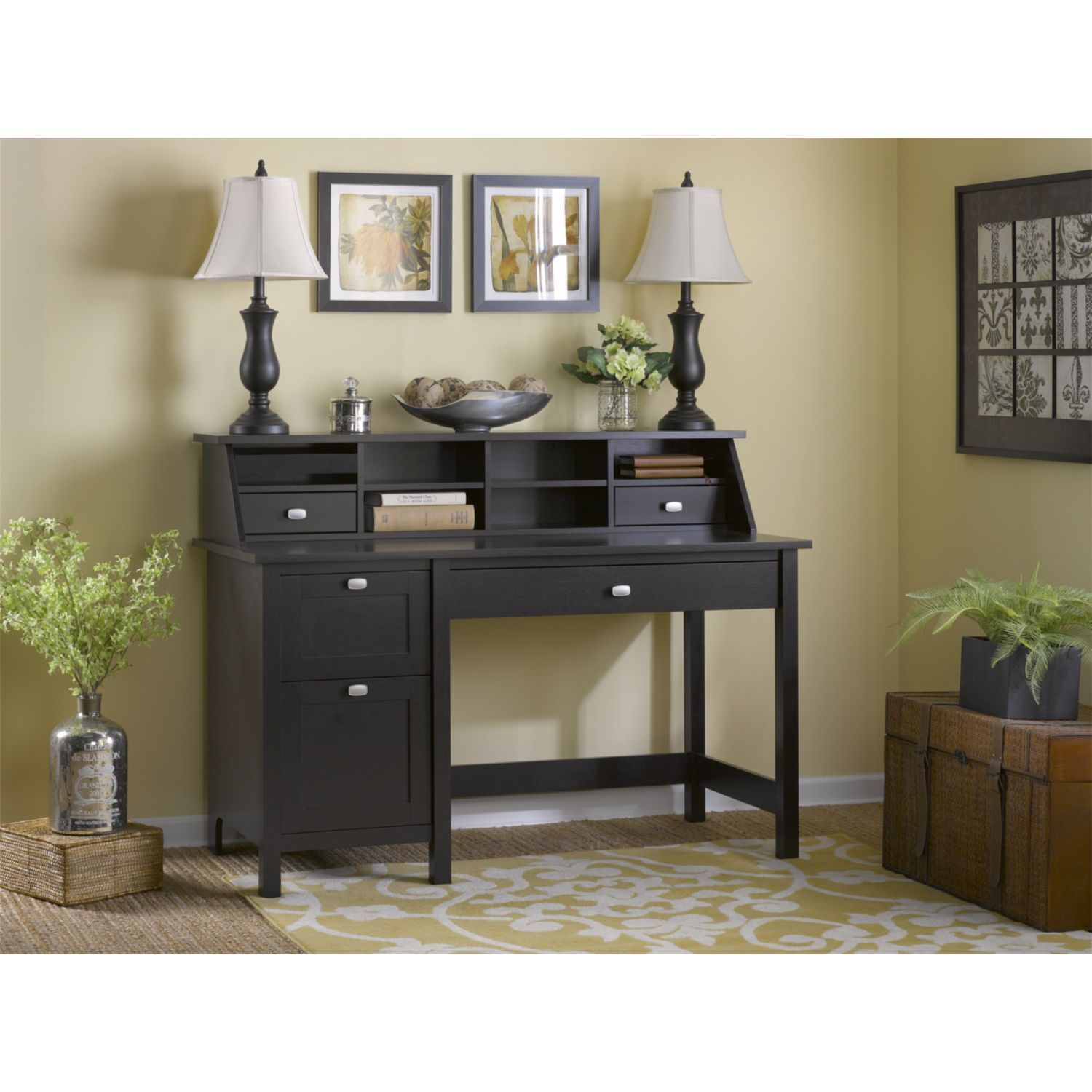 furniture single pedestal products oak ped portland painted stone desk