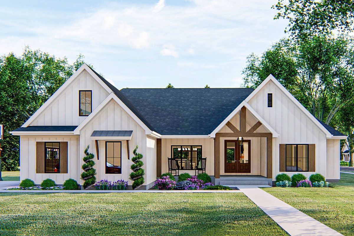 Plan 62835DJ: 4-Bed New American House Plan with Wood Beam Accents