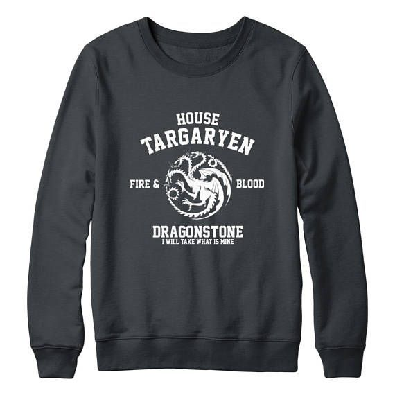 Game of Thrones House Targaryen Fire and Blood Inspired Hoodie S to 2XL
