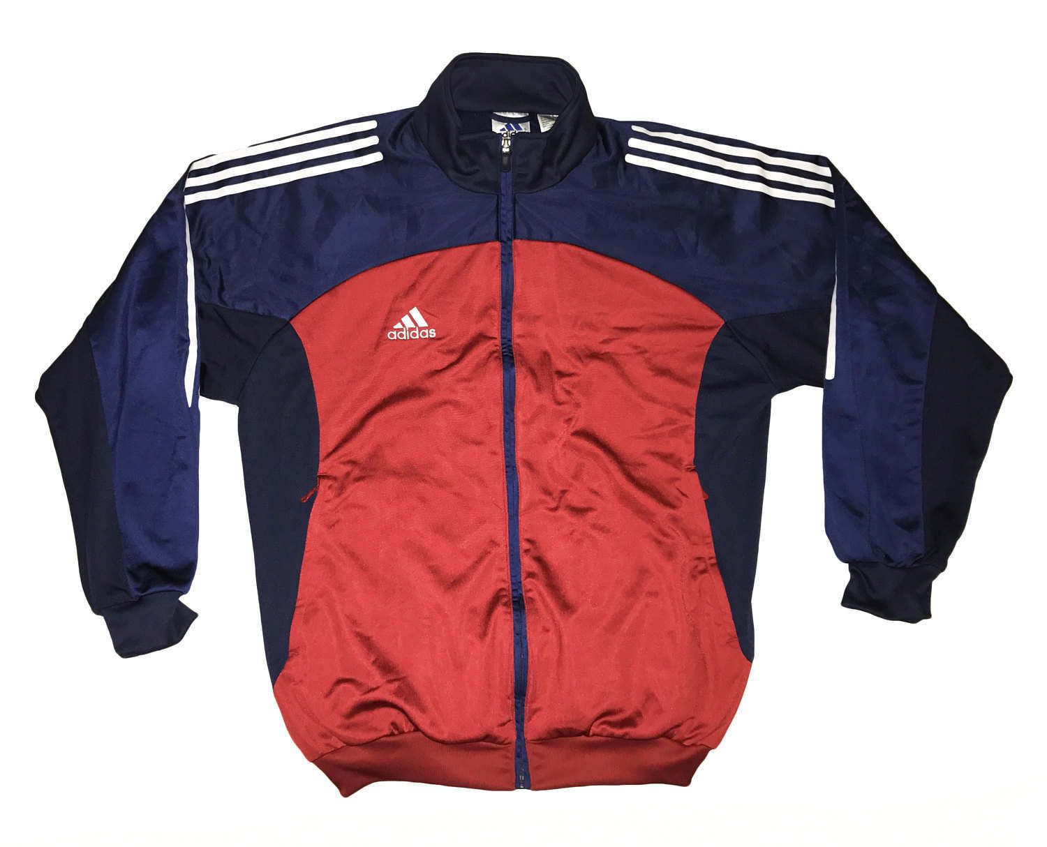 Vintage 90s Adidas Tracksuit Top Jacket Color Block Blue Red White