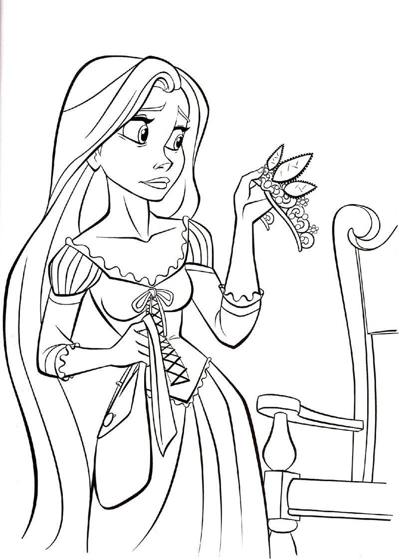 Rapunzel Color Pages Crown Rapunzel Coloring Pages Disney Coloring Pages Princess Coloring Pages