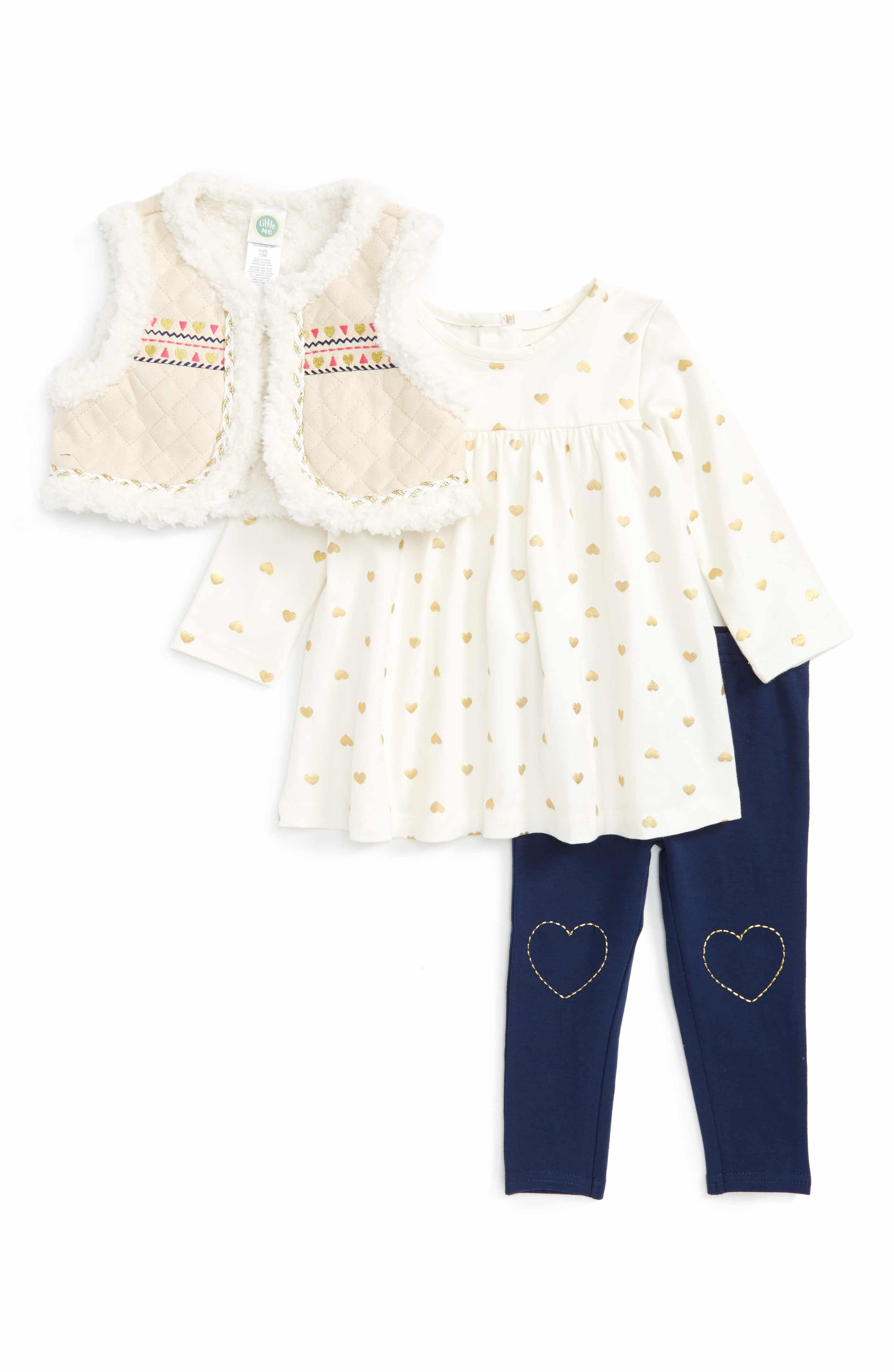Main Image Little Me Vest Long Sleeve Shirt & Leggings Set Baby