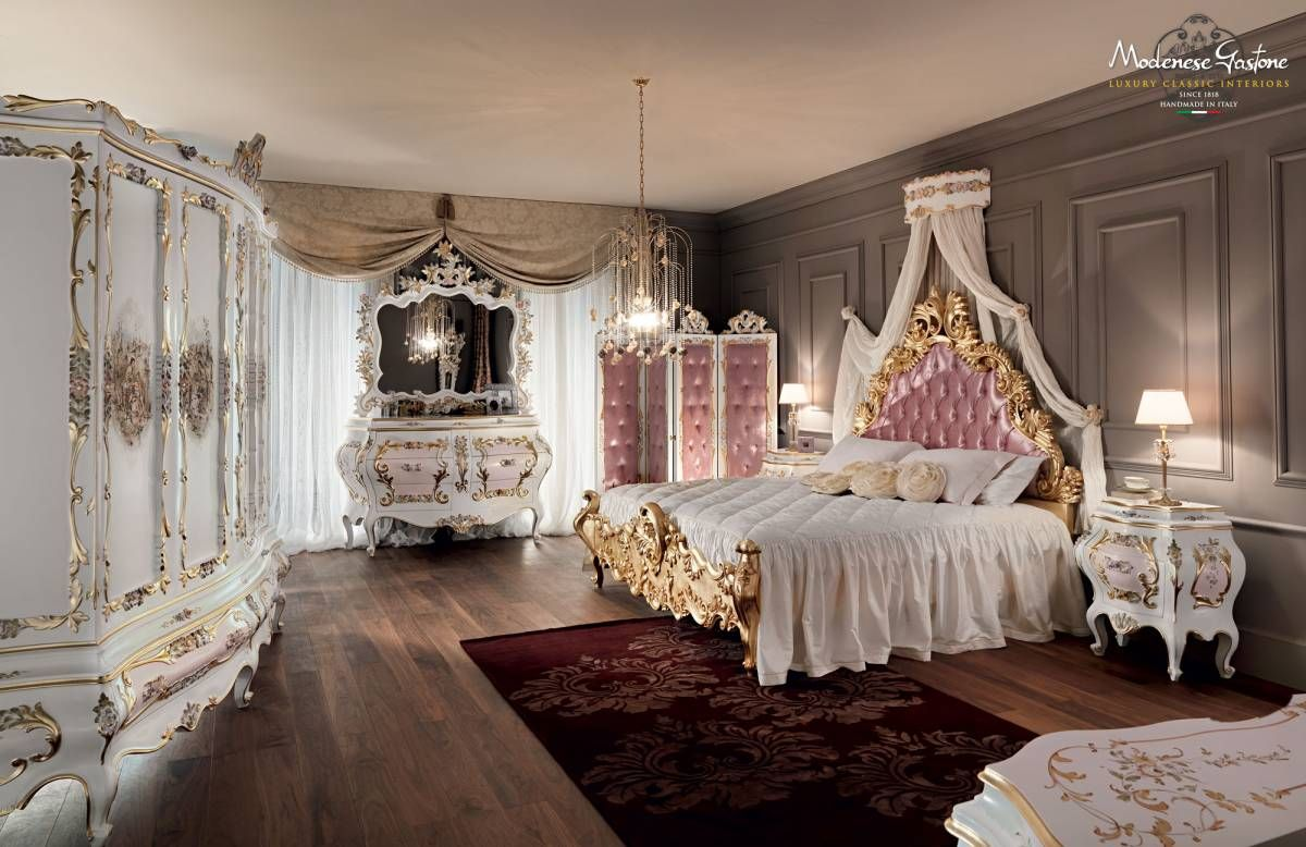 Pink Luxury Bedroom classical-royal-bedroom-with-upholstered-and-padded-headboard