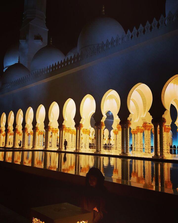 When disdain envelopes onself.. #grandeur #sunset #beauty #thegrandmosque #abudhabi #uae #throwback #meandmythoughts #peace #historical #ancient #sheikhzayedmosque #myabudhabi #travelgram #abaya by nehavasudev